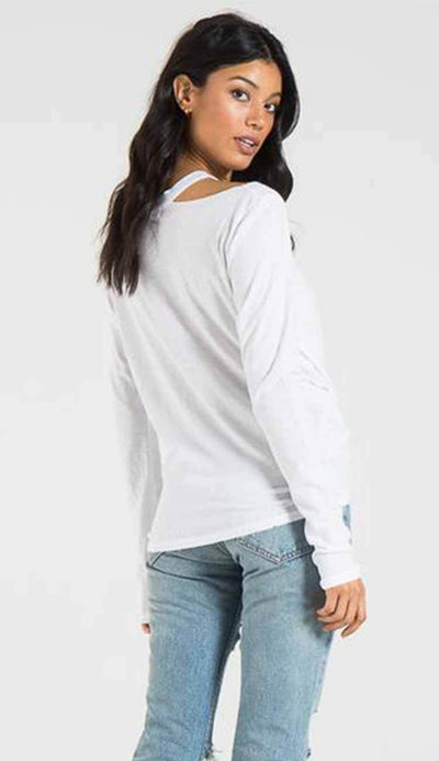 Alexa long sleeve tee with distressing by philanthropy in white view 6