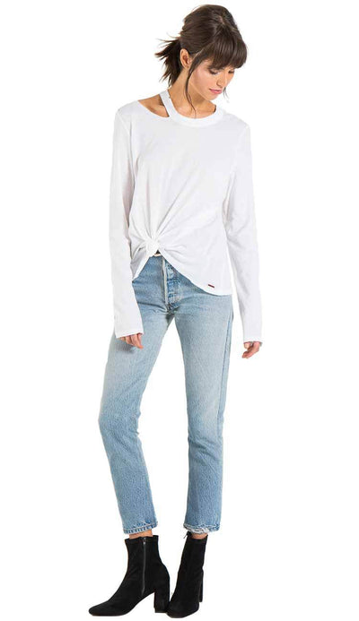 Alexa long sleeve tee with distressing by philanthropy in white Full view