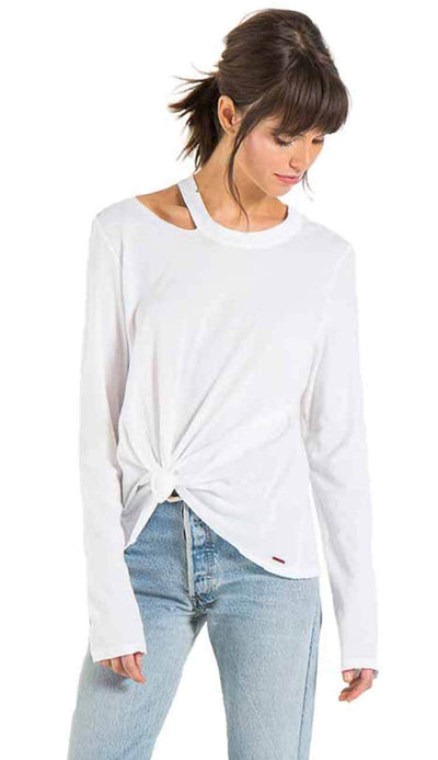 Alexa long sleeve tee with distressing by philanthropy in white