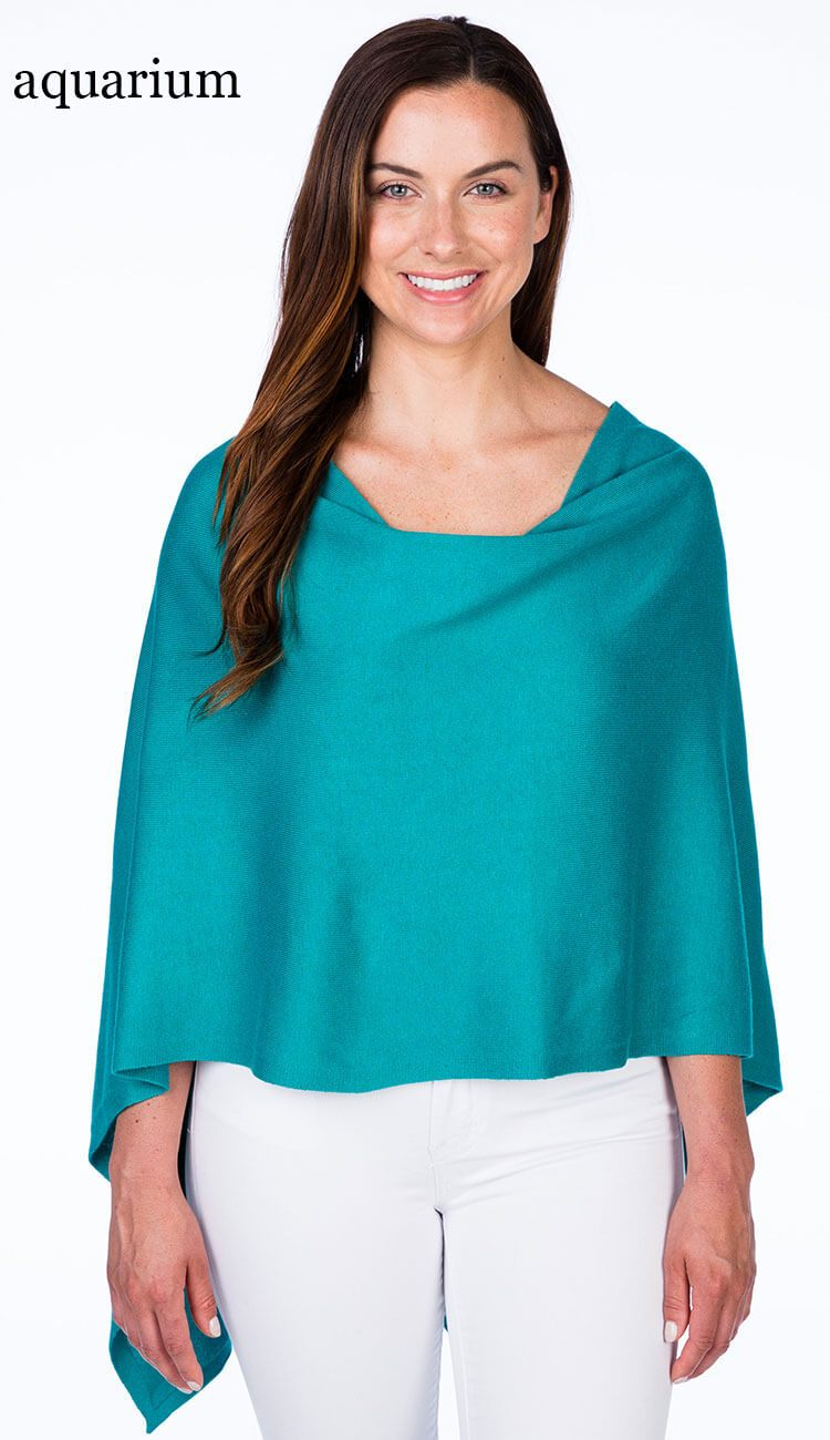 Caroline Grace Trade Wind Cotton Cashmere Poncho Dress Topper
