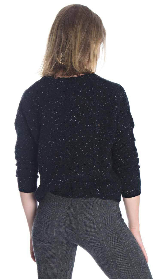 distressed cashmere v-neck sweater back view by autumn cashmere