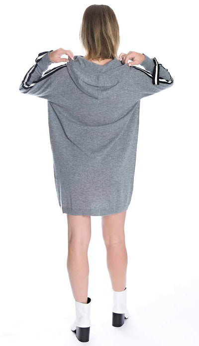 cashmere athletic hoodie tunic front view back view