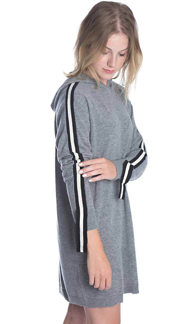 cashmere athletic hoodie tunic front view side view