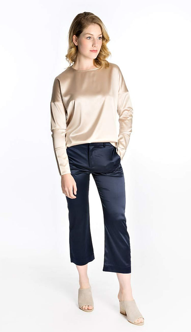 Ahlvar Gallery Ana silk pant in navy
