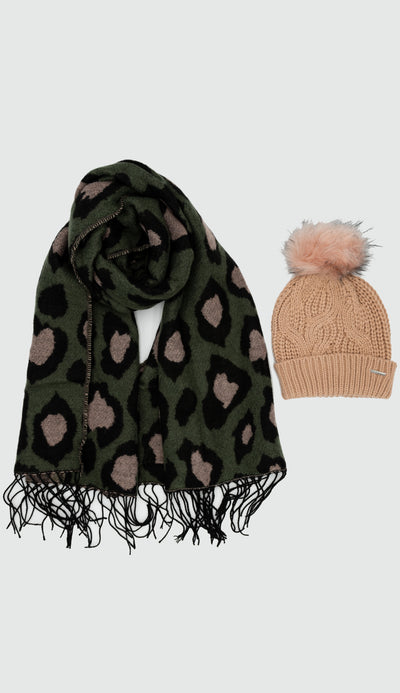 axin scarf paired with misty rose knit hat with faux fur pom pom