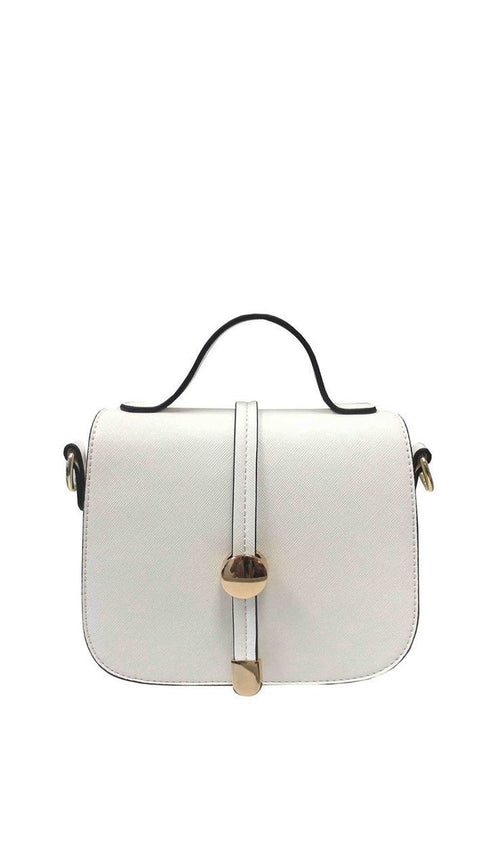 Mini Saffiano Saddle Crossbody Bag - White