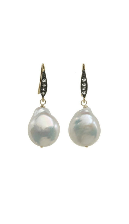 Grey Baroque Pearl & White Sapphire Earrings