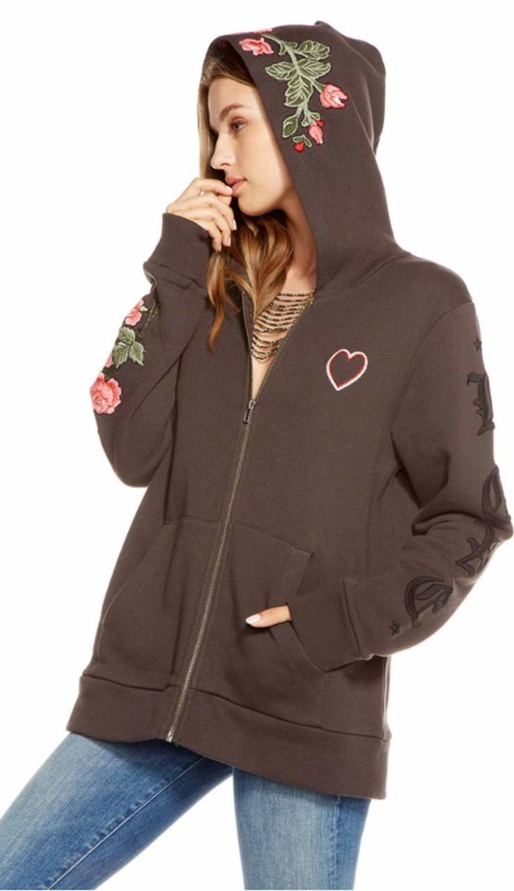 Peace Love Tiger Embroidered Hoodie