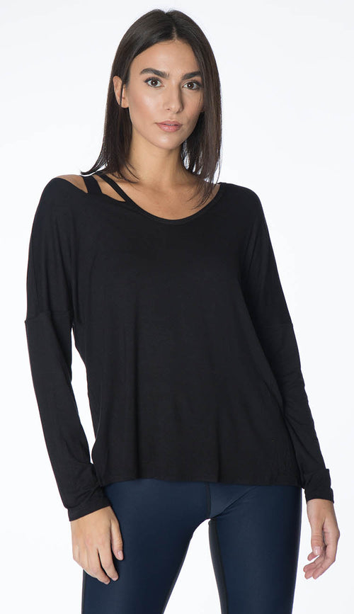 black slash shoulder long sleeve top by terez
