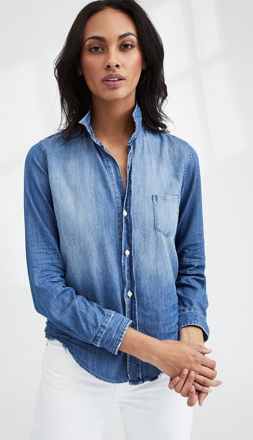 Barry Distressed Vintage Wash Italian Indigo Denim Button Down Shirt