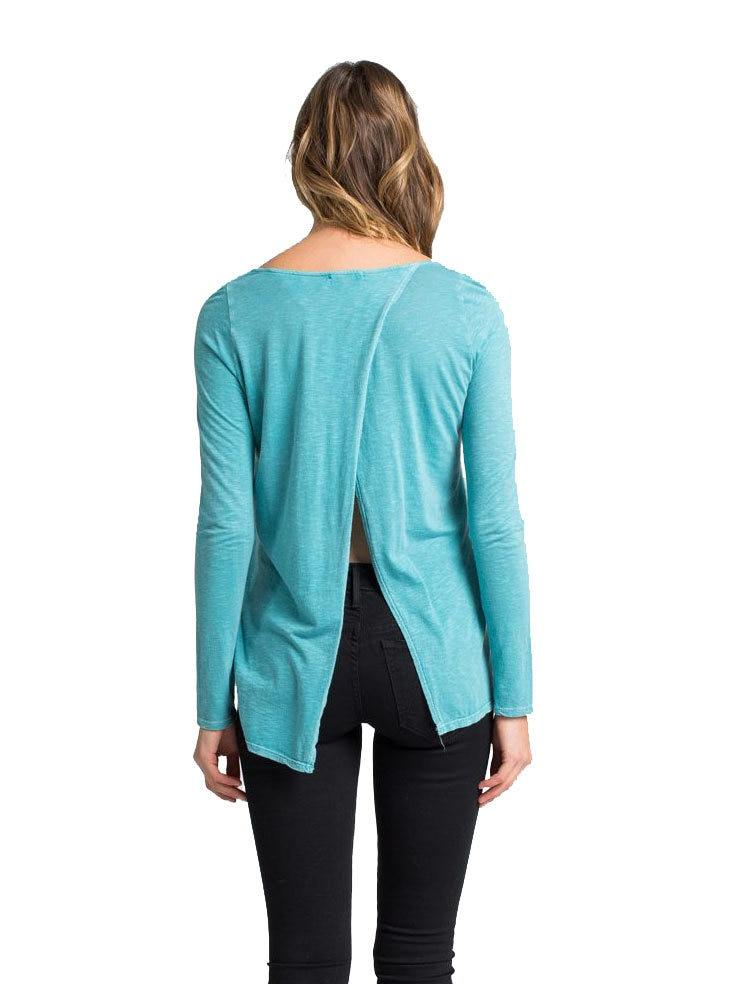 Lory Split Back T-Shirt in Blue Lagoon