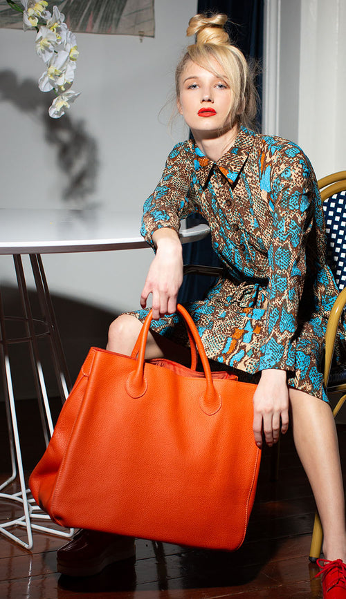 large classic tote marie orange by beck