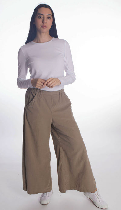 wendy wide leg micro cord pant by cp shades in elephant beige