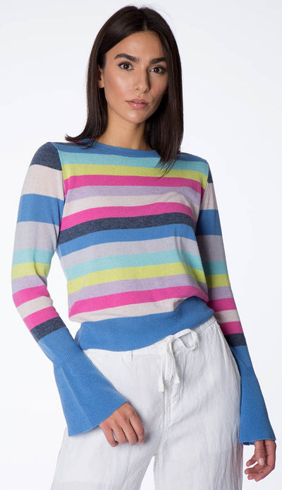 stripe bell-sleeve cashmere sweater front view by autumn cashmere