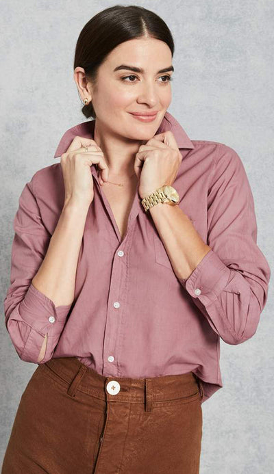 Frank and Eileen Barry Button Down Shirt in Italian Light Poplin in Rose