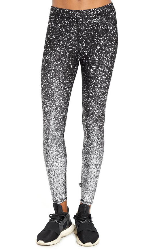Black and White Glitter Photo Print Leggings