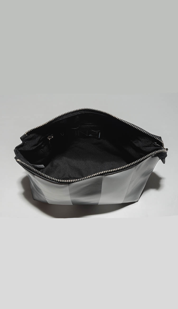 black and white stripe interior pouch