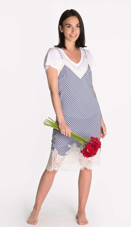 anne marie silk slip dress by gold hawk - blue and white gingham