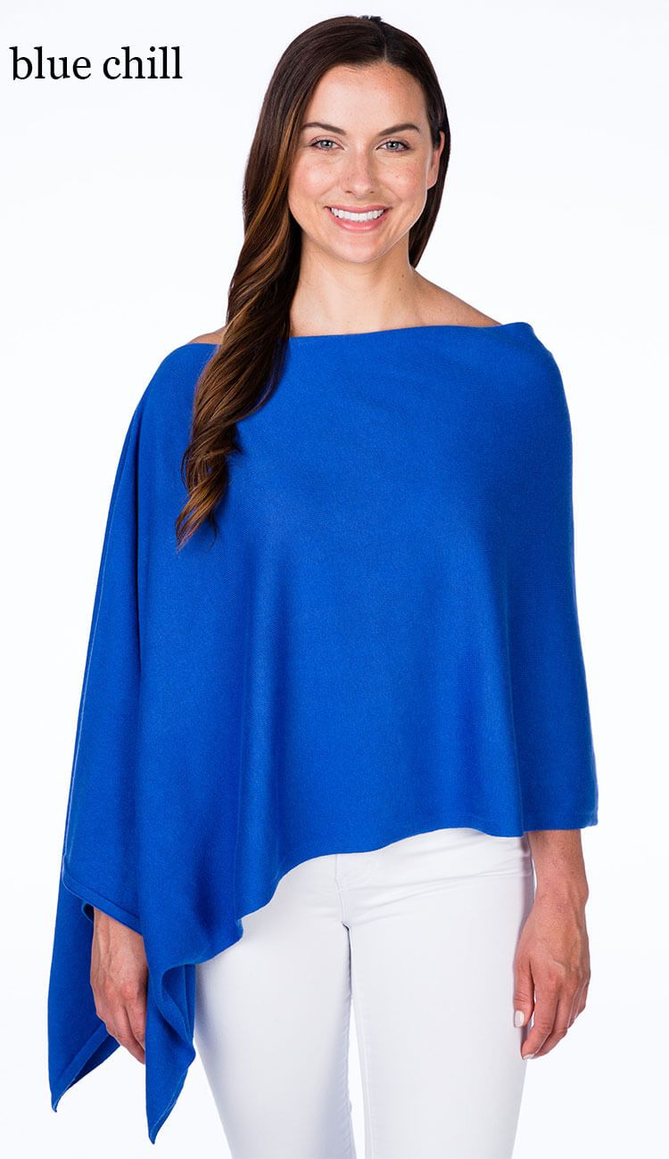 blue chill cotton cashmere topper by caroline grace