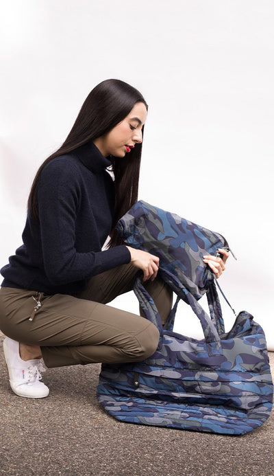 camo tote in blue comes with three sizes of matching pouches