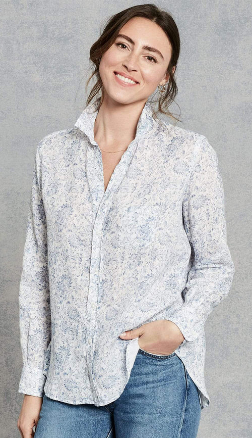 Washed blue floral italian linen button down shirt front view 2