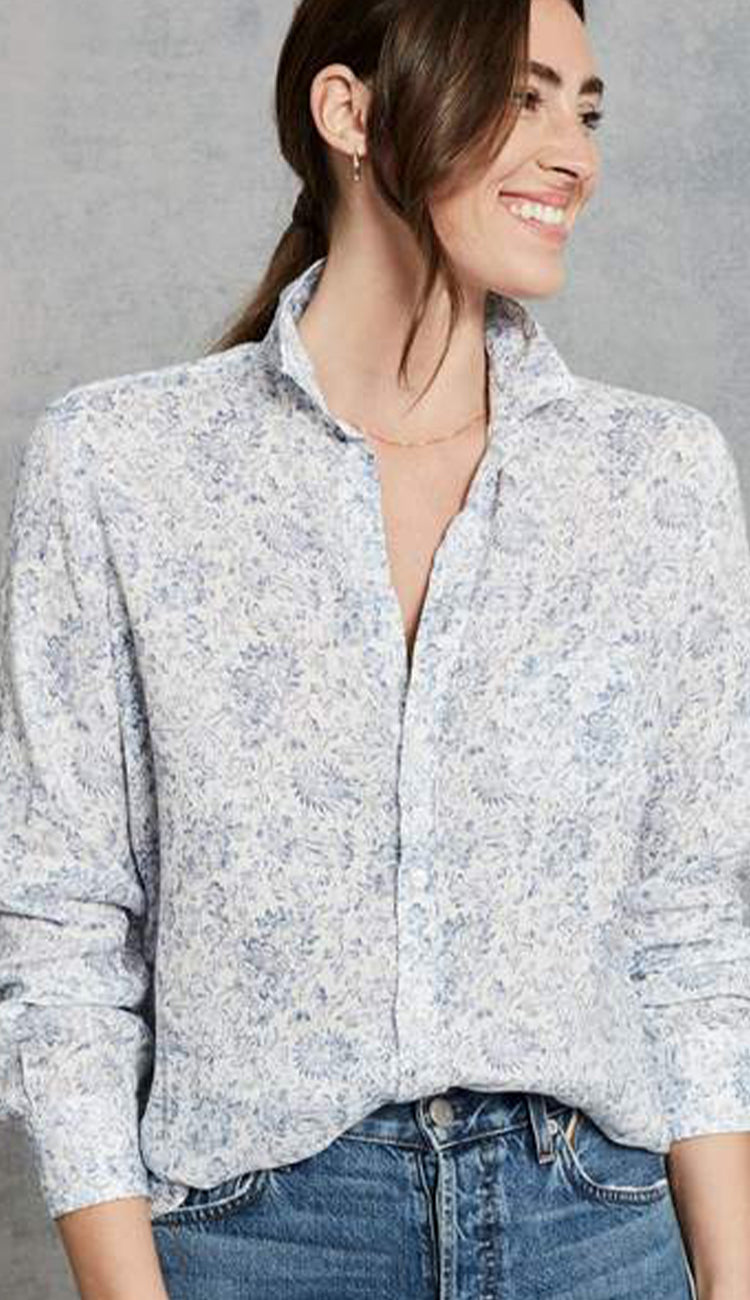 Washed blue floral italian linen button down shirt