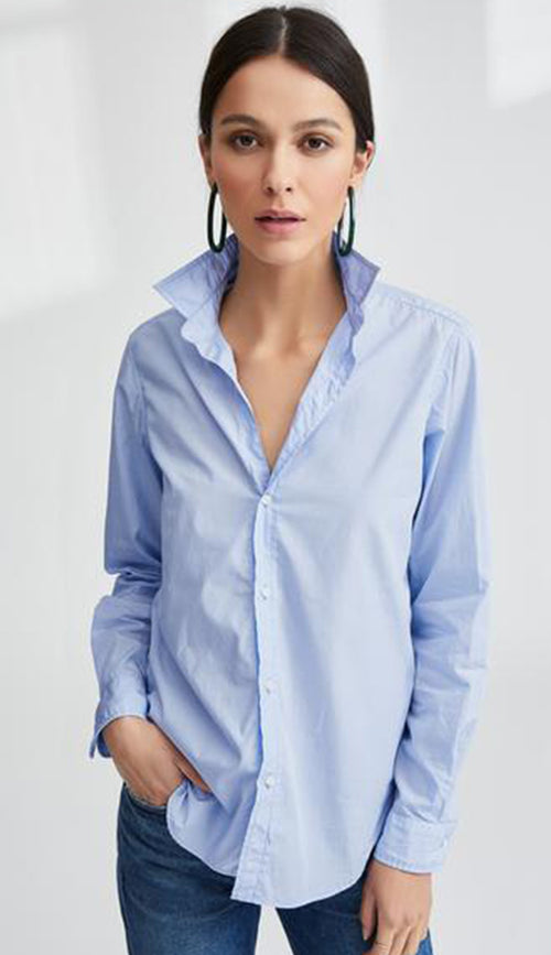 Frank Super Fine Poplin Soft Blue Button Down Shirt