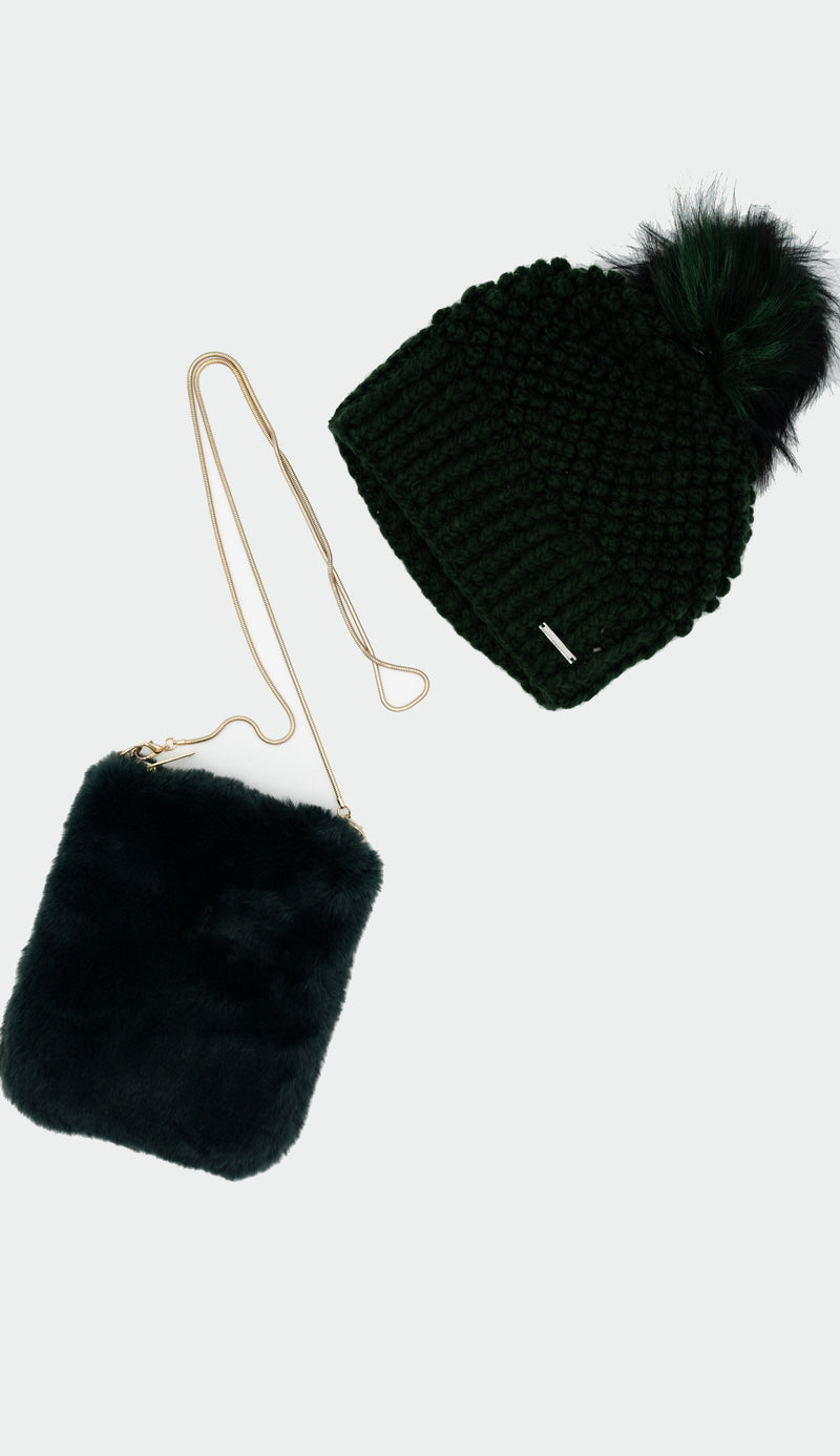 bottle green crochet hat with faux fur crossover bag