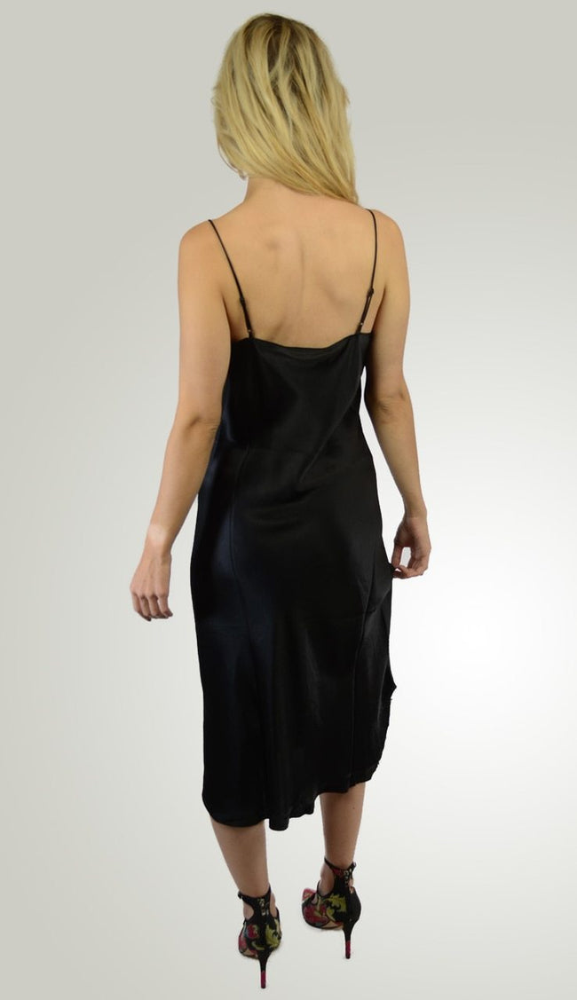 Silk Slip Dress - Black