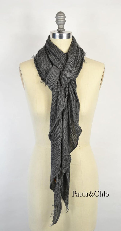 Cashmere Love Scarf - Heather Grey Charcoal Micro Stripe