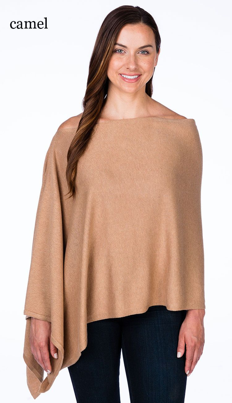 caroline grace cotton cashmere topper in camel
