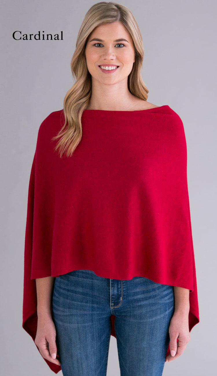 cardinal cotton cashmere topper - caroline grace