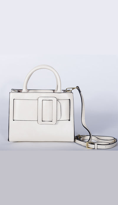 carl handbag in white full view by inzi