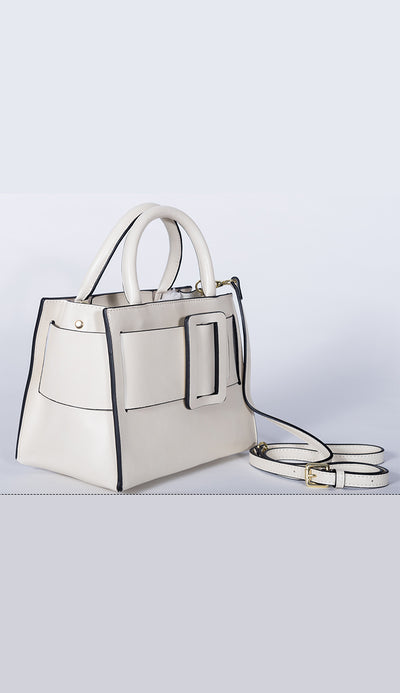 carl handbag in white side view by inzi