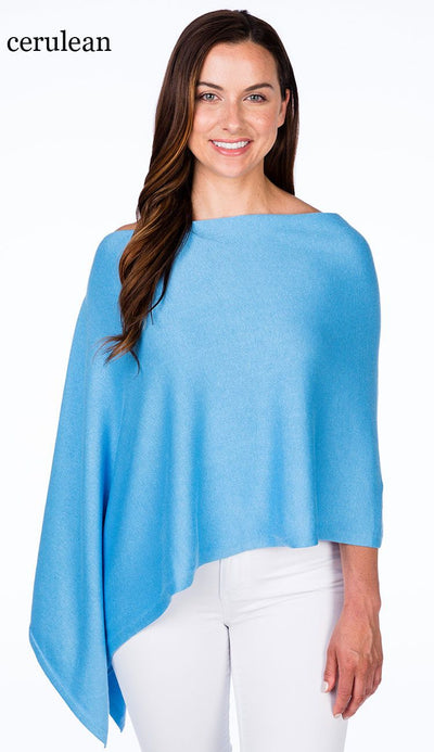 caroline grace cotton cashmere topper in cerulean blue