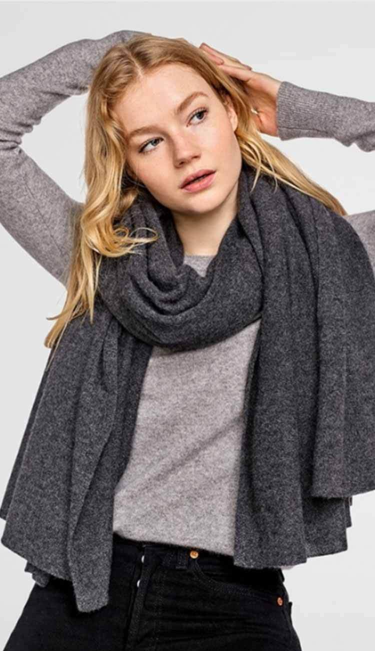 charcoal heather grey travel wrap