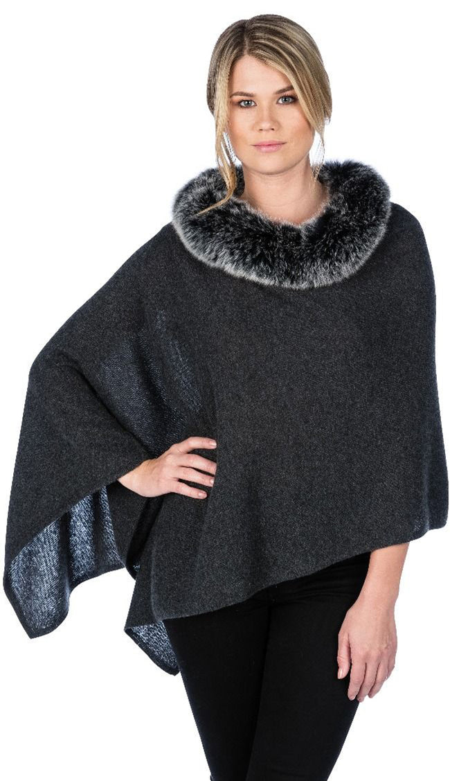 charcoal fox trim topper by claudia nichole cashmere