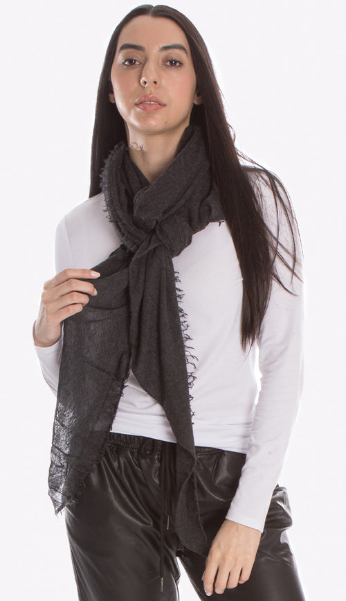 charcoal grey cashmere love scarf by grisal
