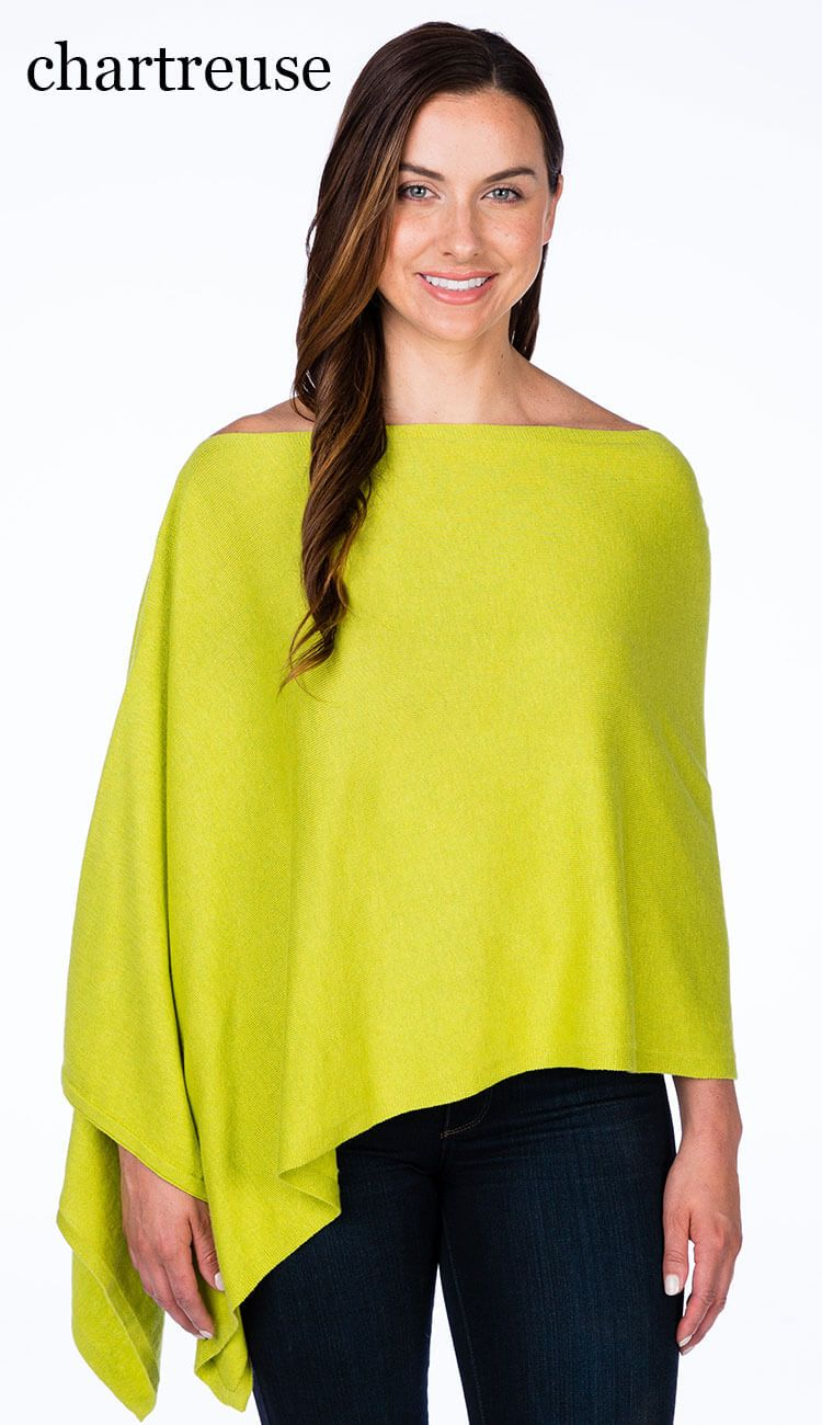 caroline grace cotton cashmere topper in chartreuse