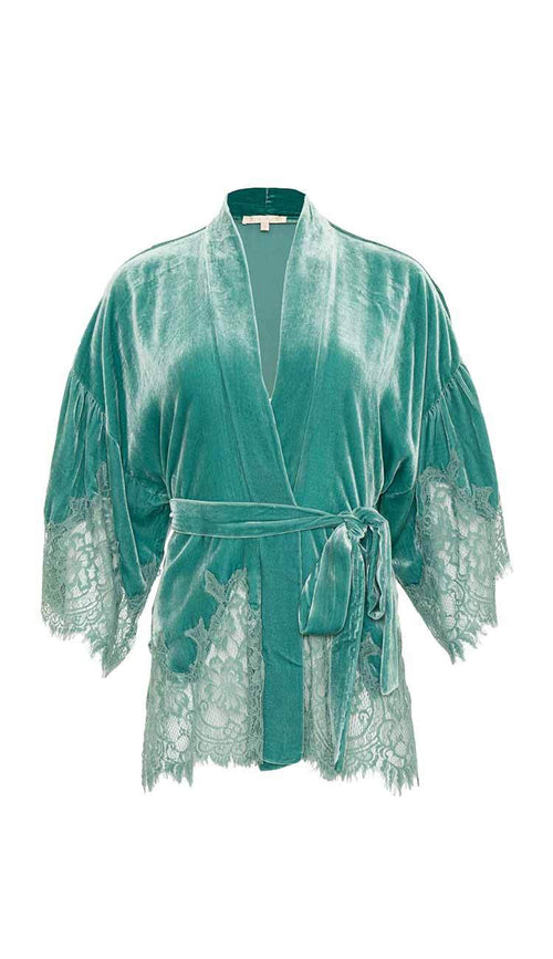 Oil Blue Velvet Coco Lace Kimono by Gold Hawk