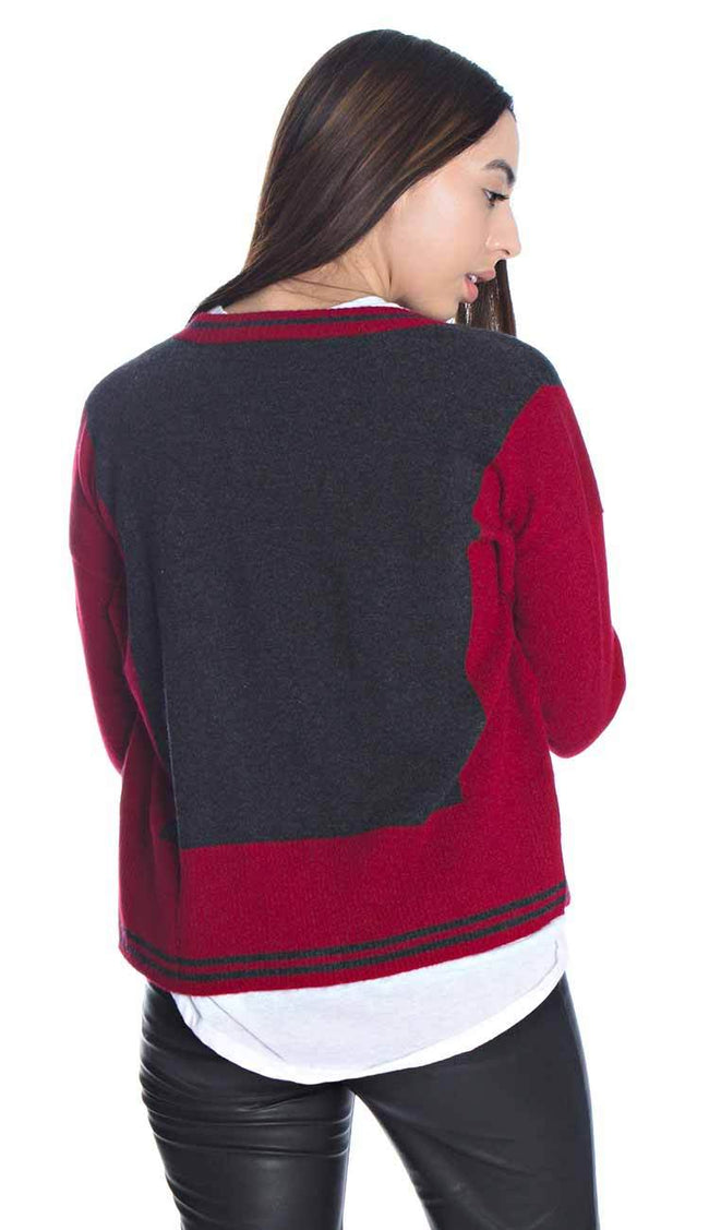 Two Tone V-Neck Cashmere Cardigan by Autumn Cashmere back view