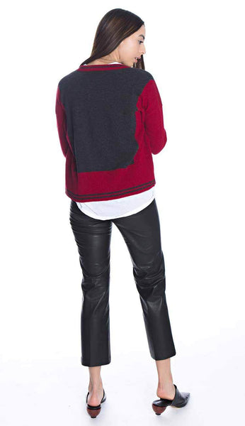 Two Tone V-Neck Cashmere Cardigan by Autumn Cashmere full view