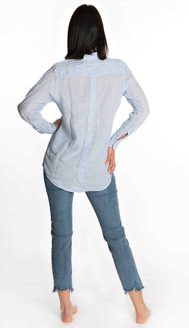 Jack linen shirt - blue and white stripes back view