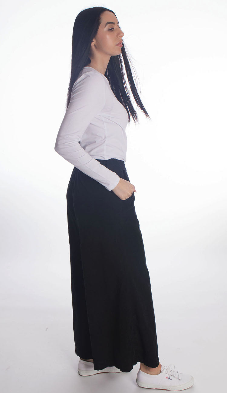 wendy wide leg pant micro cord in black by cp shades side view
