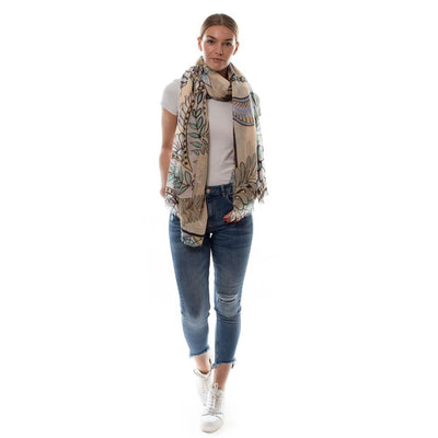 Tiger & Jungle Scarf - Creme