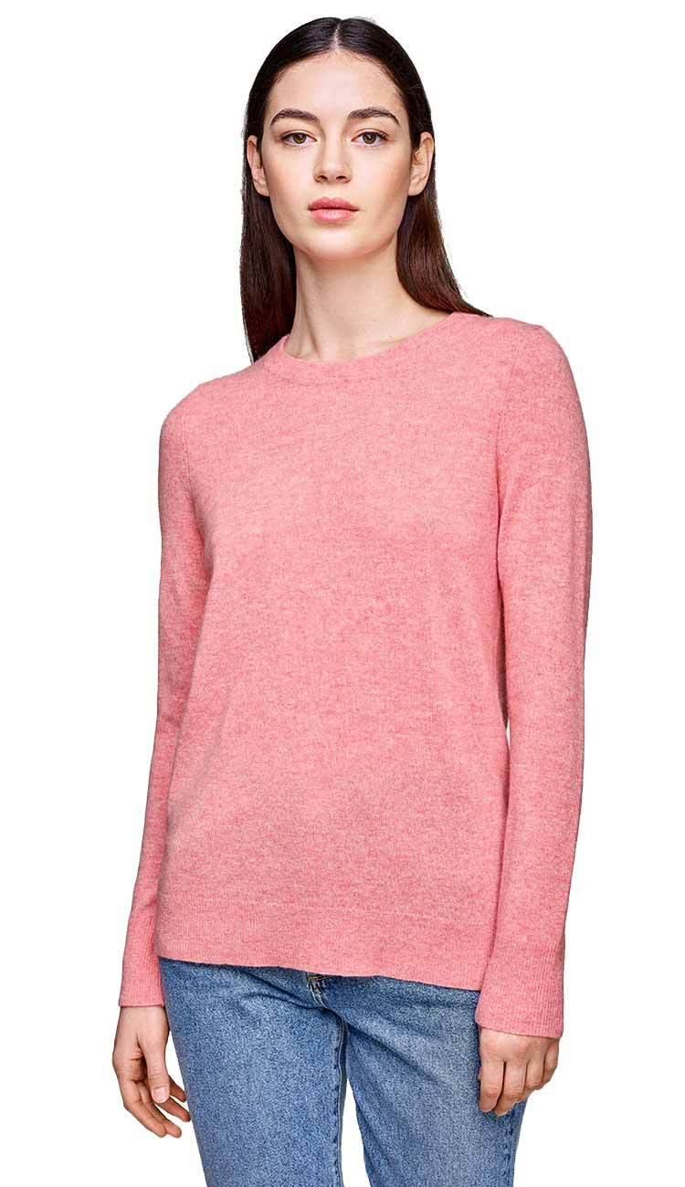 Gum drop pink cashmere crewneck sweater by white and warren