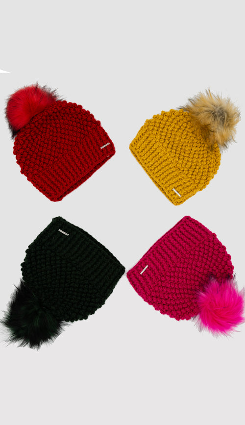 crochet hats with faux fur pom pom - paula and chlo