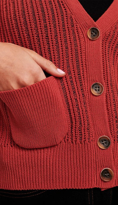 corded cotton blouson sleeve cardigan by white and warren detail shot