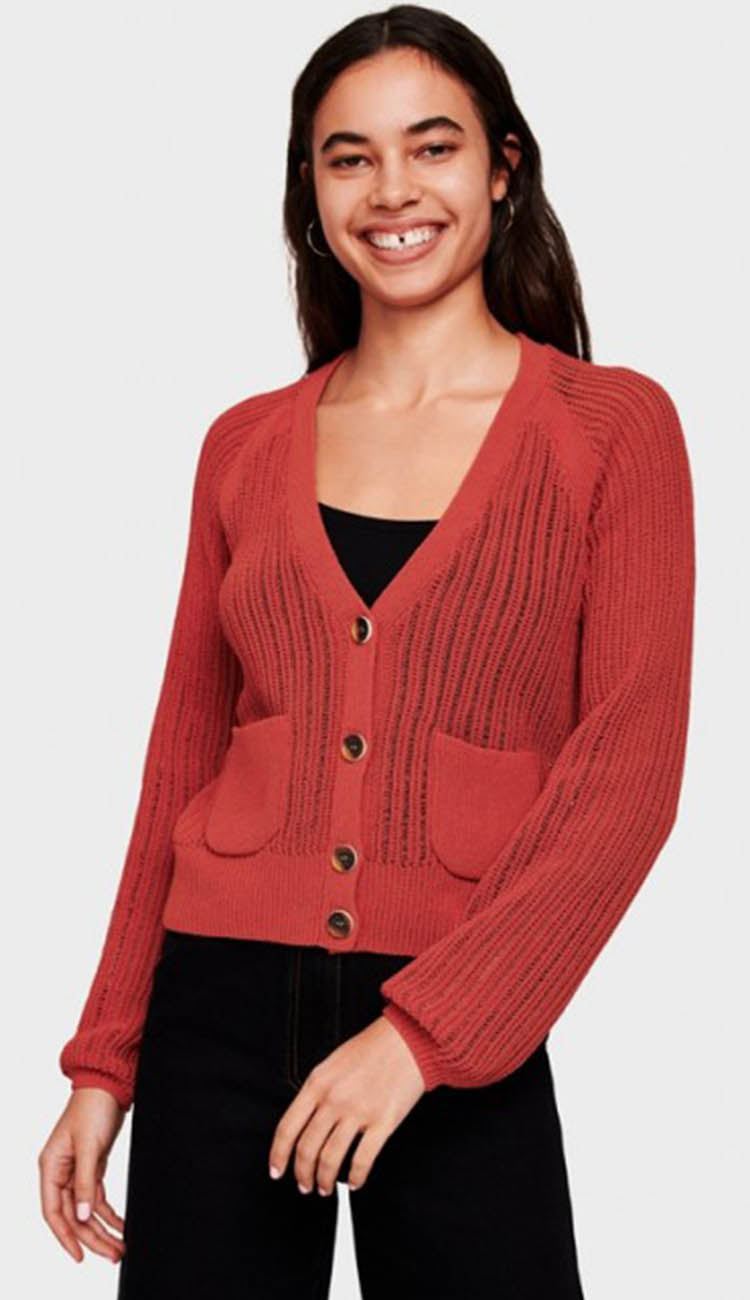 corded cotton blouson sleeve cardigan by white and warren