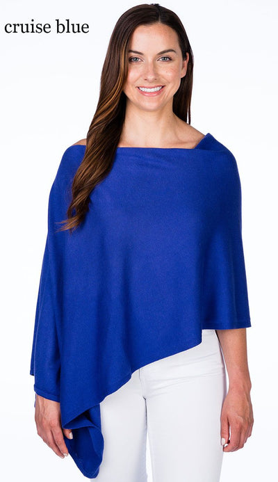 caroline grace cotton cashmere topper in cruise blue